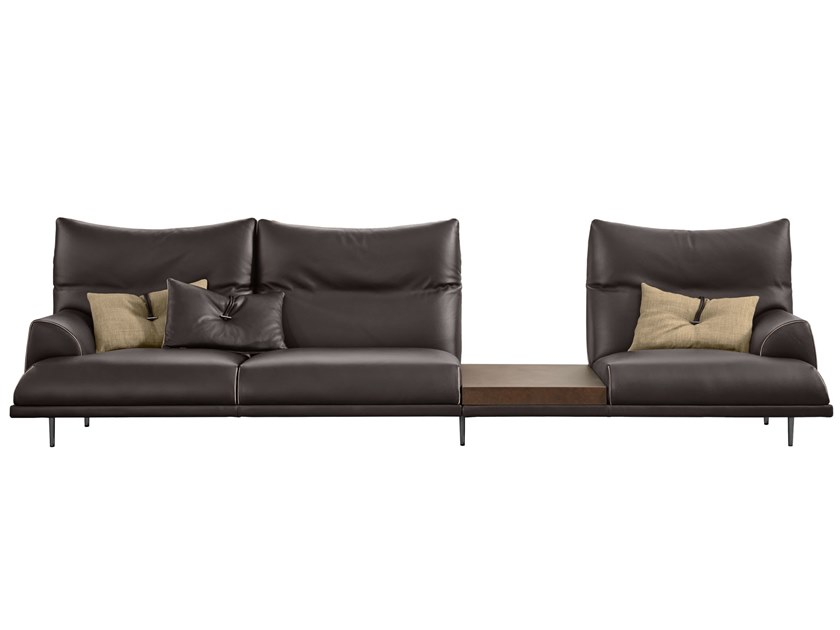 Sectional leather sofa WOLF by Gamma Arredamenti