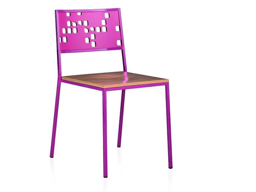 Sedia impilabile in acciaio inox WONKA HOLE by ALMA DESIGN