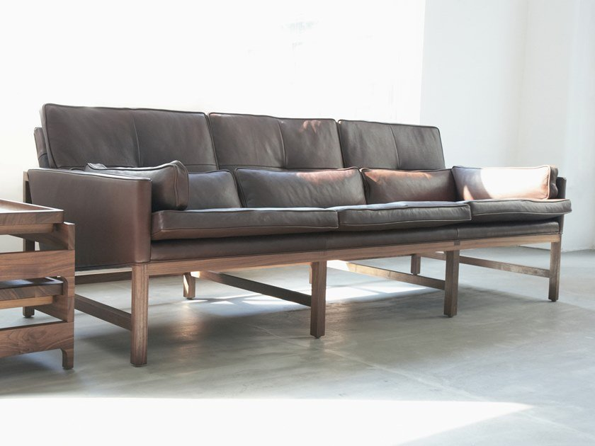 3 seater leather sofa WOOD FRAME LOUNGE | Sofa by BassamFellows