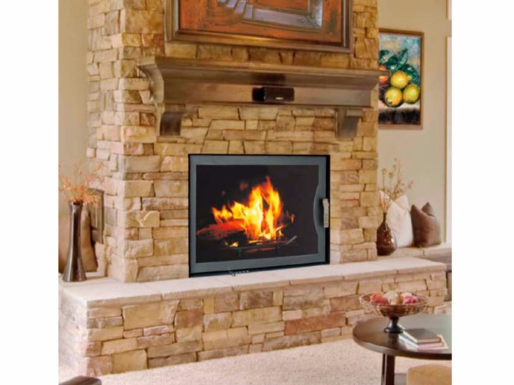 Wood-burning Built-in Wall-mounted Boiler fireplace WOOD by Fintek