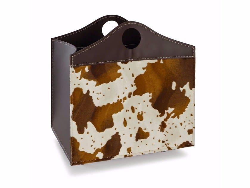 Horse hide storage box / Log holder WOODBAG CAVALLINO by LIMAC design FIRESTYLE