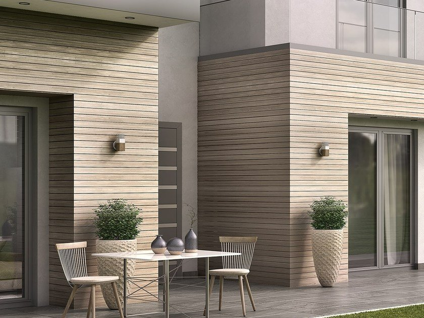 Outdoor wooden wall tiles WOODEE | Wood panel for facade by Alumil