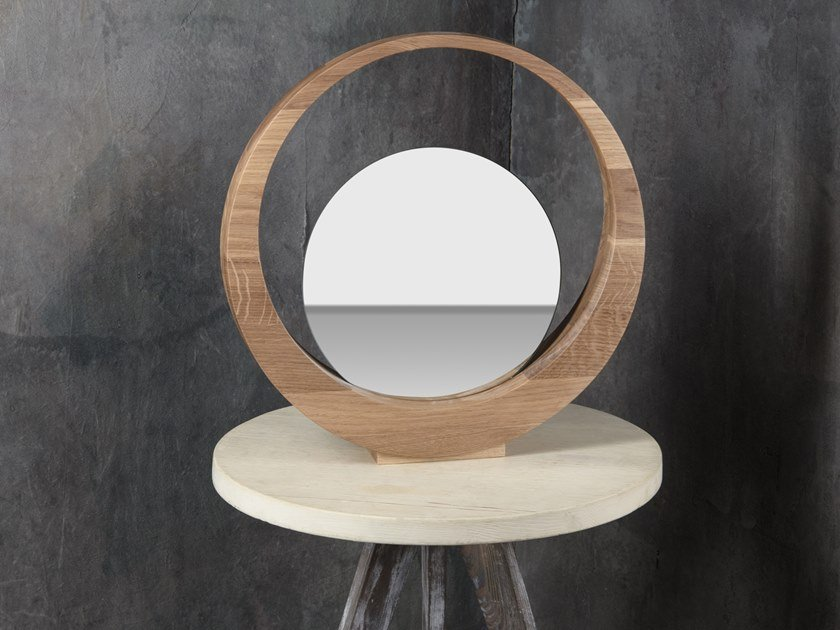 Countertop wooden mirror WOODEN PEDESTAL #1 by Goloob