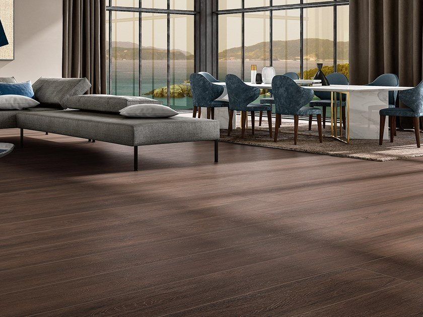 Laminated stoneware wall/floor tiles with wood effect WOODLAND - EBONY by COTTO D'ESTE