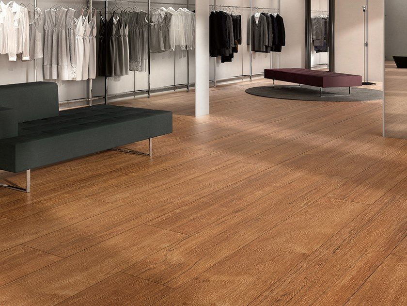 Laminated stoneware wall/floor tiles with wood effect WOODLAND - TEAK by COTTO D'ESTE