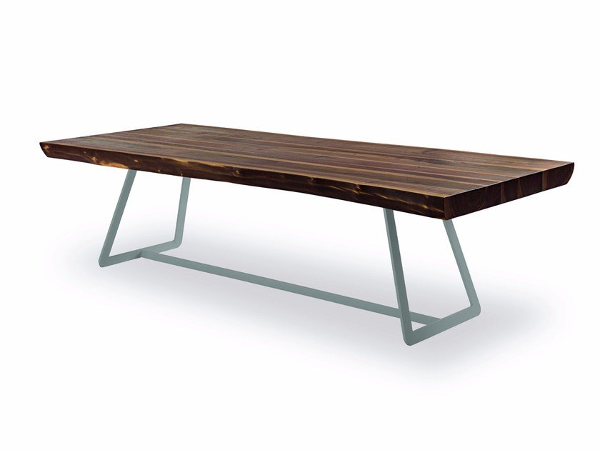 Rectangular solid wood and iron table WOODSTOCK-CALLECULT BASE by Riva 1920