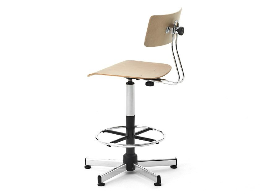 Swivel beech office stool with back WORK | Office stool with back by Mara