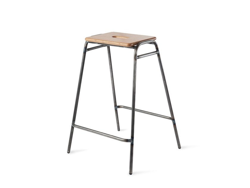 High wooden barstool with footrest WORKING GIRL | High stool by Deadgood