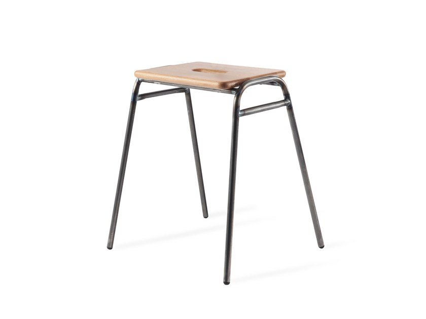Low stackable steel and wood barstool WORKING GIRL | Steel stool by Deadgood