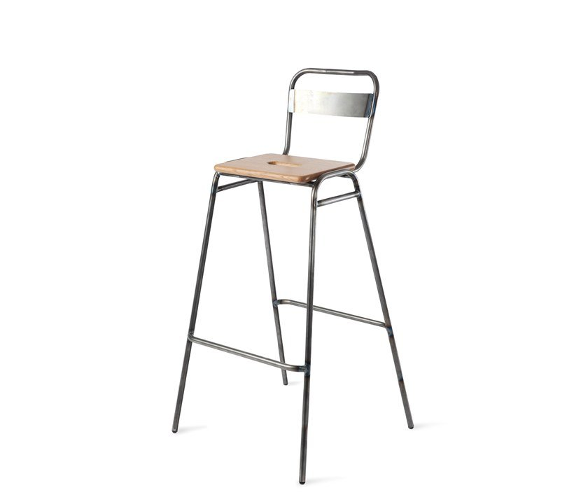High steel barstool with back WORKING GIRL | Stool with back by Deadgood
