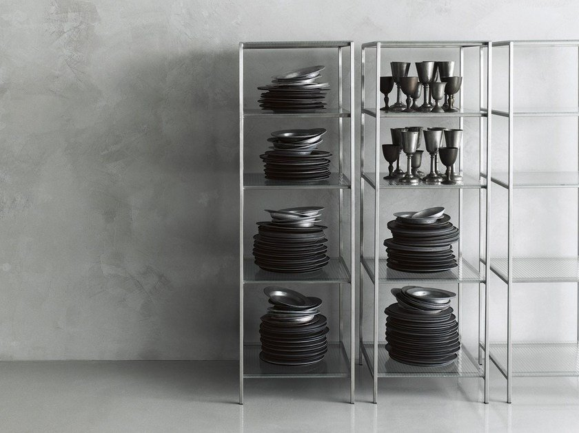 Glass and Stainless Steel shelving unit WORKS 2014 by Boffi