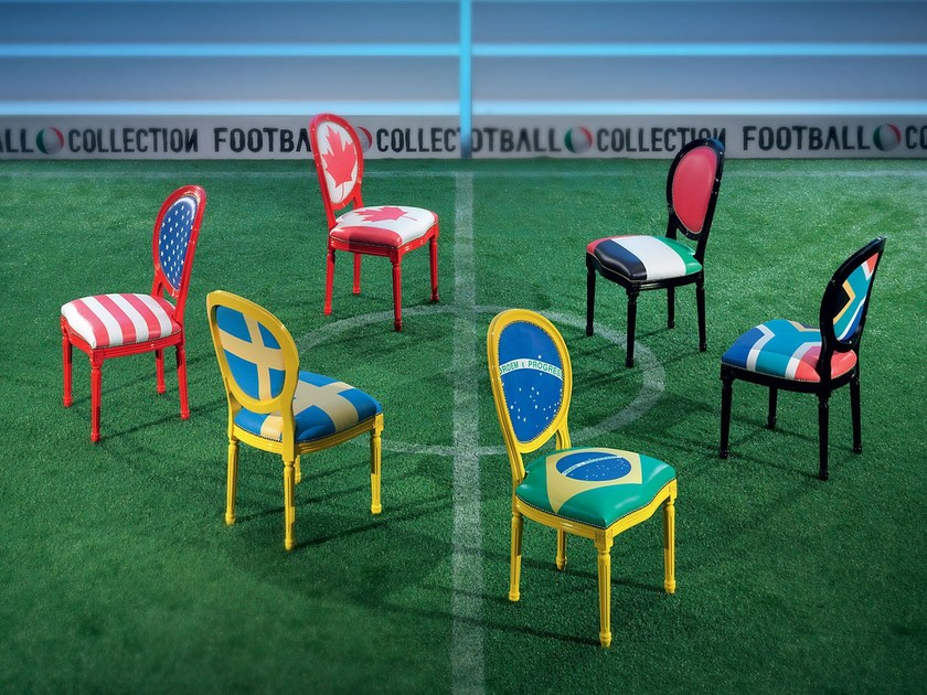 Lacquered chair WORLD CUP by Modenese Gastone