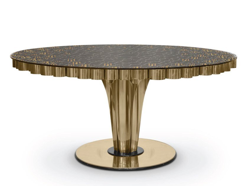 Round brass dining table WORMLEY | Dining table by Delightfull