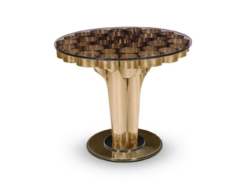 Round brass coffee table WORMLEY | Round coffee table by Delightfull