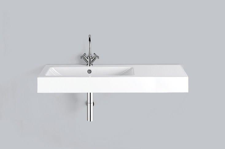 Rectangular wall-mounted enamelled steel washbasin WT.GR1250H.L/R by Alape