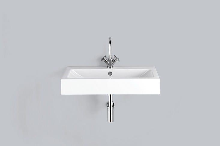 Wall-mounted enamelled steel washbasin WT.GR800H by Alape