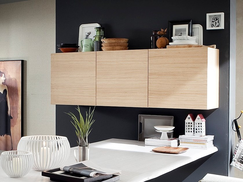 Horizontal oak wall cabinet with door ECOLAB 2 | Wall cabinet by AltaCorte