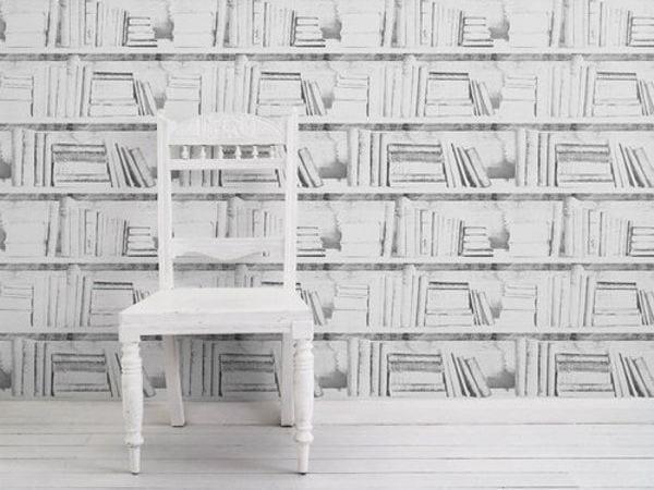 Carta da parati a motivi ALMOST WHITE PHOTOCOPY BOOKSHELF by Mineheart