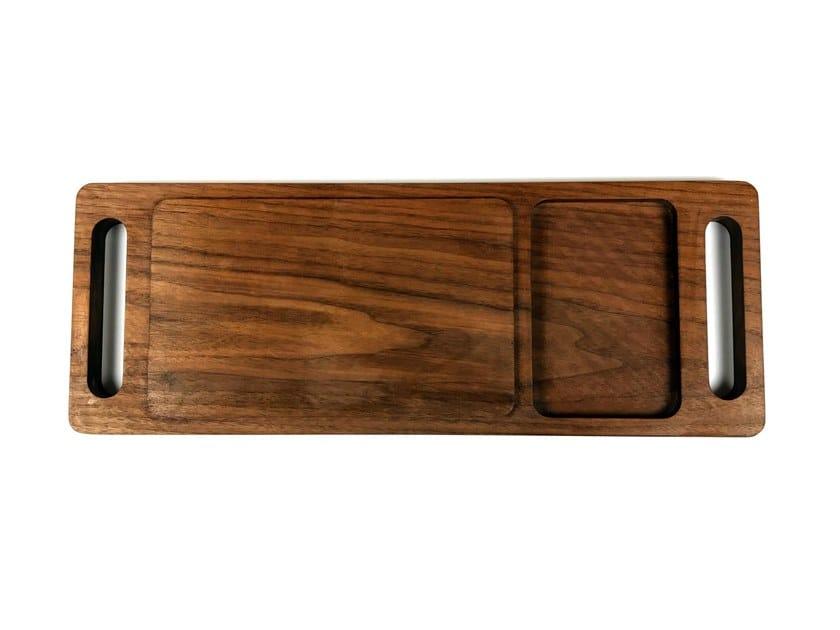 Rectangular walnut chopping board with one handle Walnut chopping board by KHEM Studios