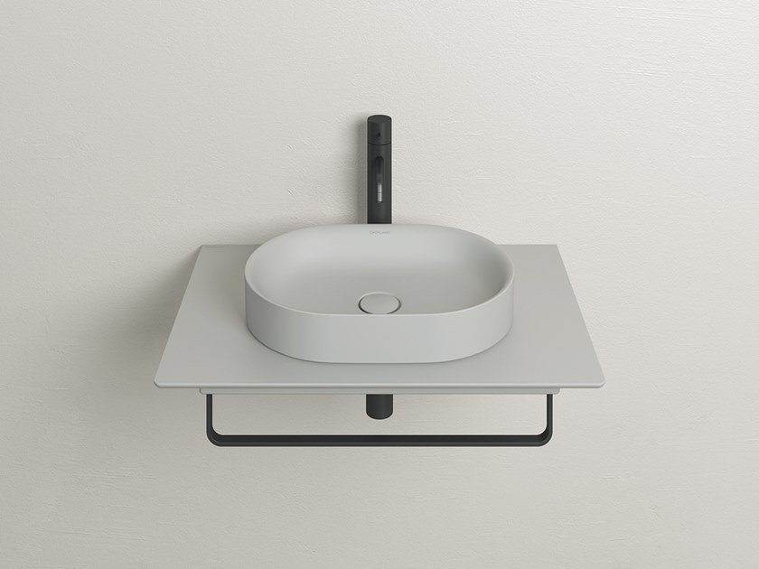 Oval single ceramic washbasin with towel rail HORIZON | Washbasin with towel rail by CERAMICA CATALANO