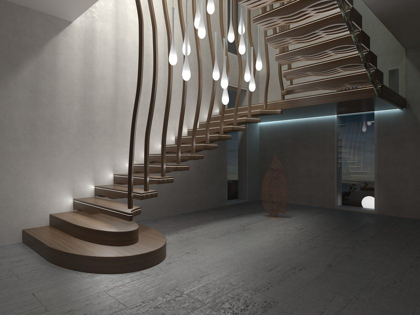 Solid wood cantilevered staircase WAVE by Siller Treppen
