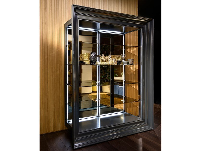 Lacquered wooden display cabinet Wooden display cabinet by Prestige
