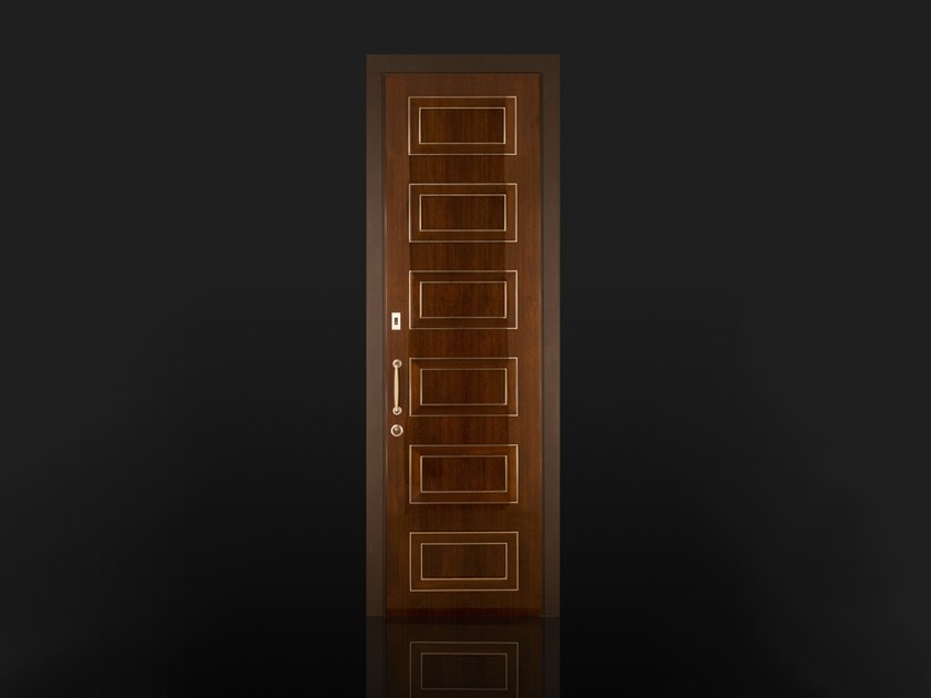 Wooden safety door with access control Wooden entry door by Ercole