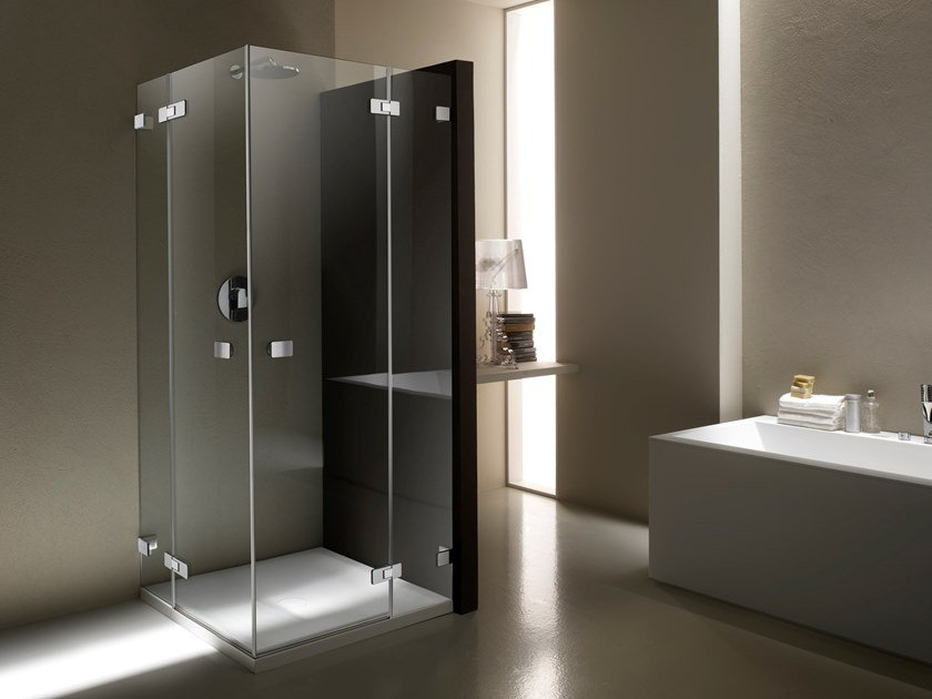 Corner tempered glass shower cabin with hinged door X-LINE XE-2 by Provex Industrie