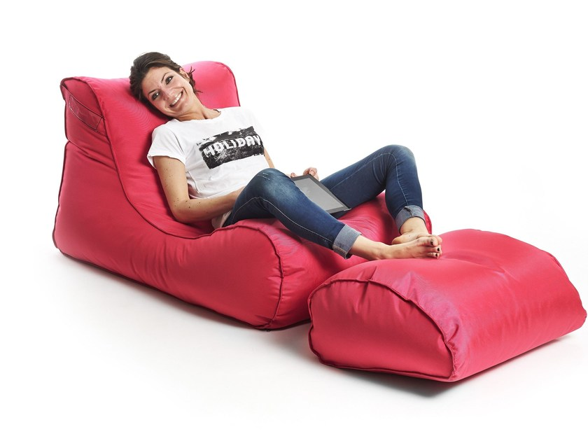 Polyester garden armchair with footstool X-LONG by XPOUF