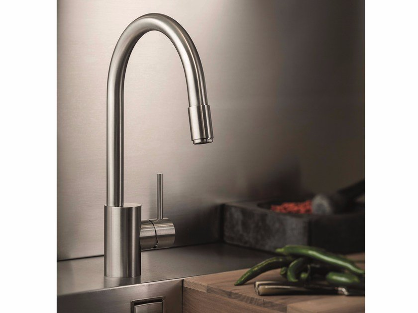 Stainless steel kitchen mixer tap with pull out spray X-MIX | Stainless steel kitchen mixer tap by newform