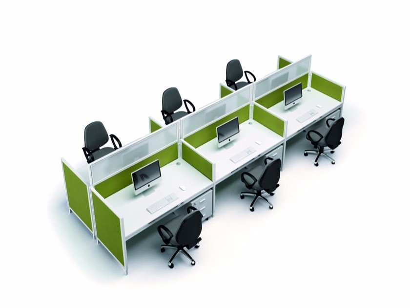 Sectional workstation desk X4 | Workstation desk by Quadrifoglio
