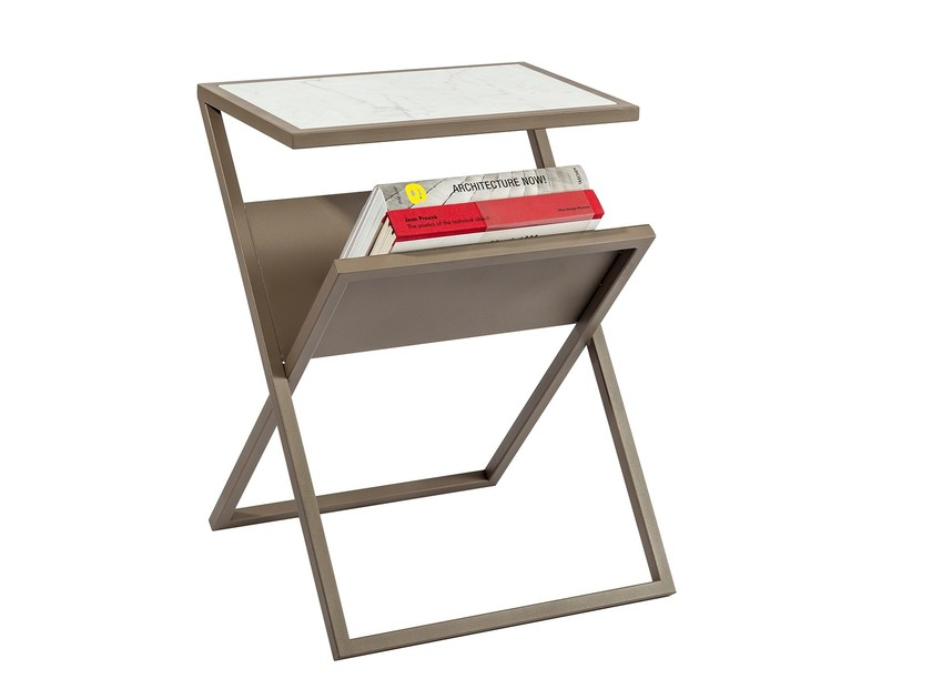 Marble side table with integrated magazine rack XEZETTE by KONTRA