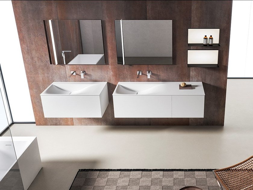 Wall-mounted vanity unit with mirror XFLY 07 by BMT