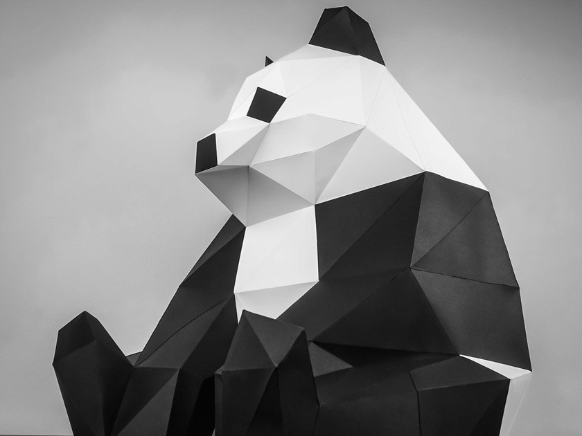 Paper sculpture XL PANDA by Papertrophy