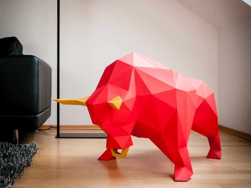 Paper sculpture XL BULL by Papertrophy