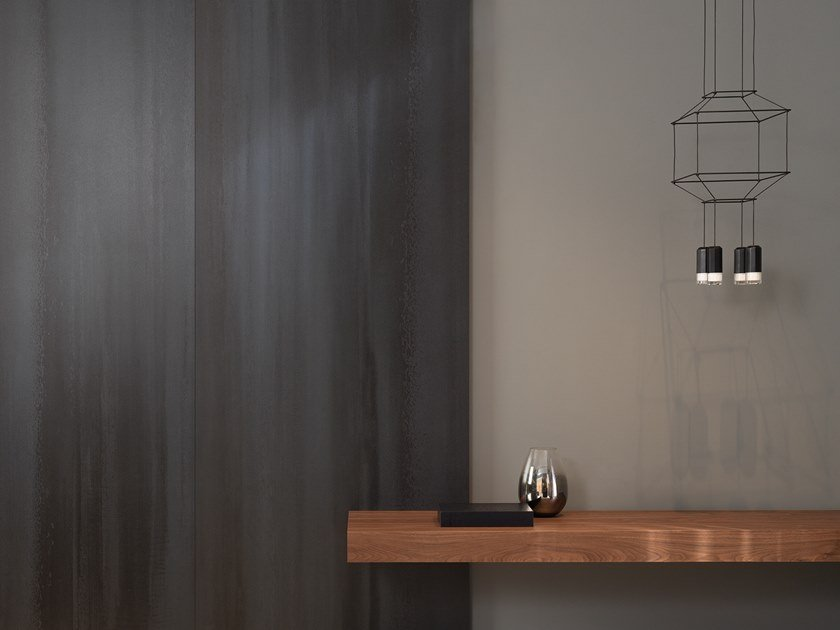 Ultra thin laminated stoneware wall tiles with concrete effect XLIGHT CONCRETE BLACK by URBATEK