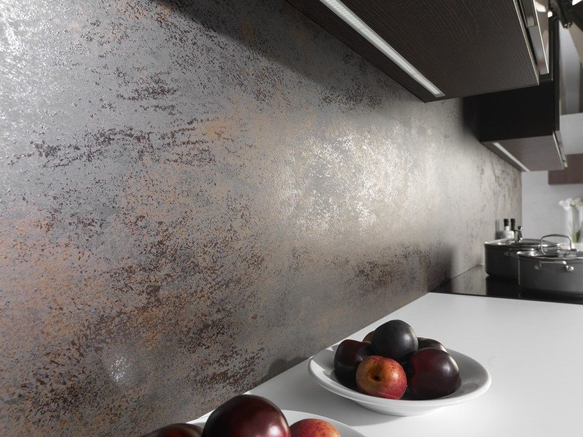 Ultra thin laminated stoneware wall tiles with metal effect XLIGHT NOX CORTEN by URBATEK