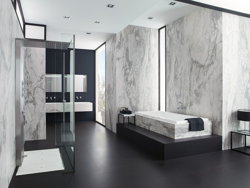 Ultra thin laminated stoneware wall tiles with marble effect XLIGHT NVY by URBATEK