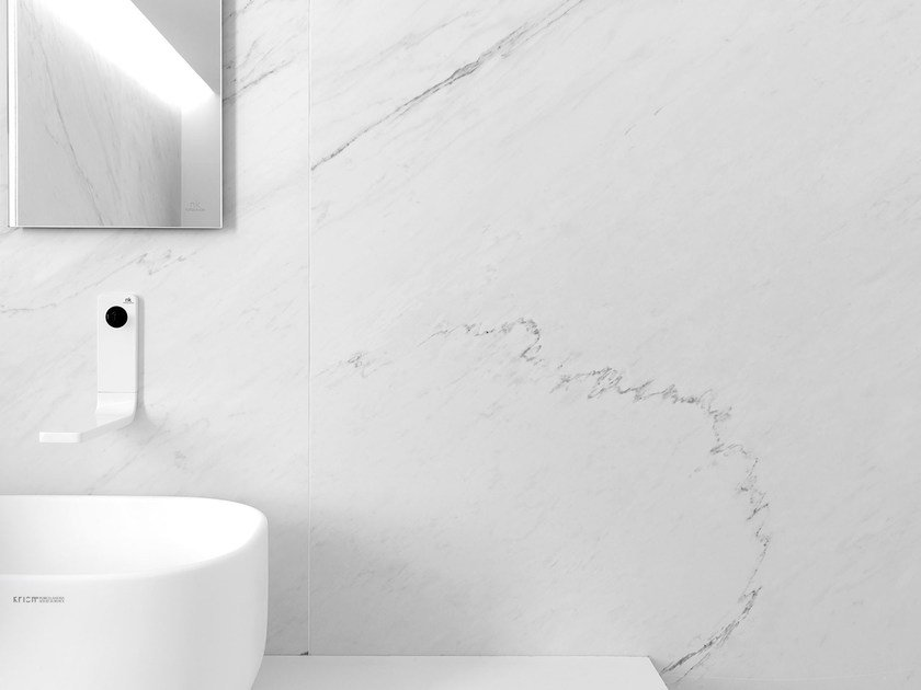 Ultra thin porcelain stoneware flooring with marble effect XLIGHT PREMIUM LUSH WHITE by URBATEK