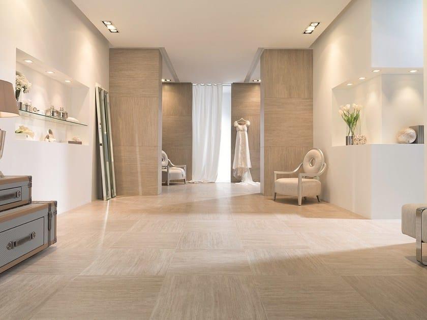 Ultra thin wall tiles with travertine effect XLIGHT TRAVERTINO by URBATEK