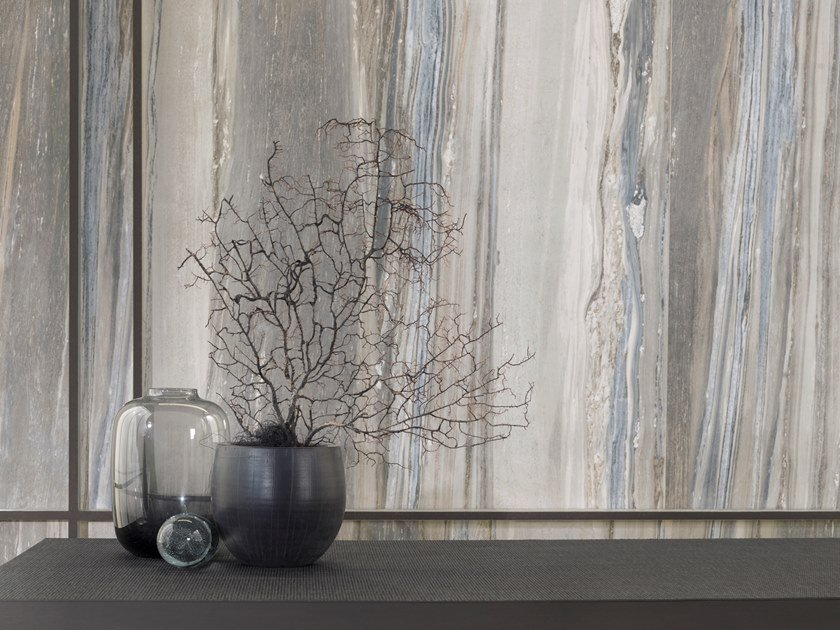 Porcelain stoneware wall/floor tiles with marble effect XLIGHT UNIK BLUE by URBATEK
