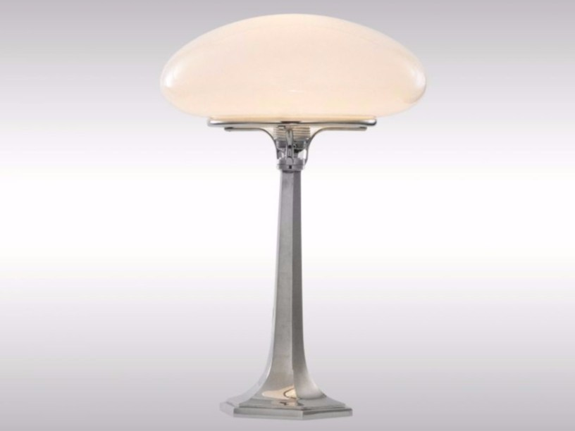 Brass and opal glass table lamp XNT1 by Woka Lamps Vienna