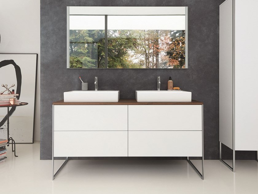 Floor-standing double lacquered vanity unit XSQUARE | Floor-standing vanity unit by Duravit