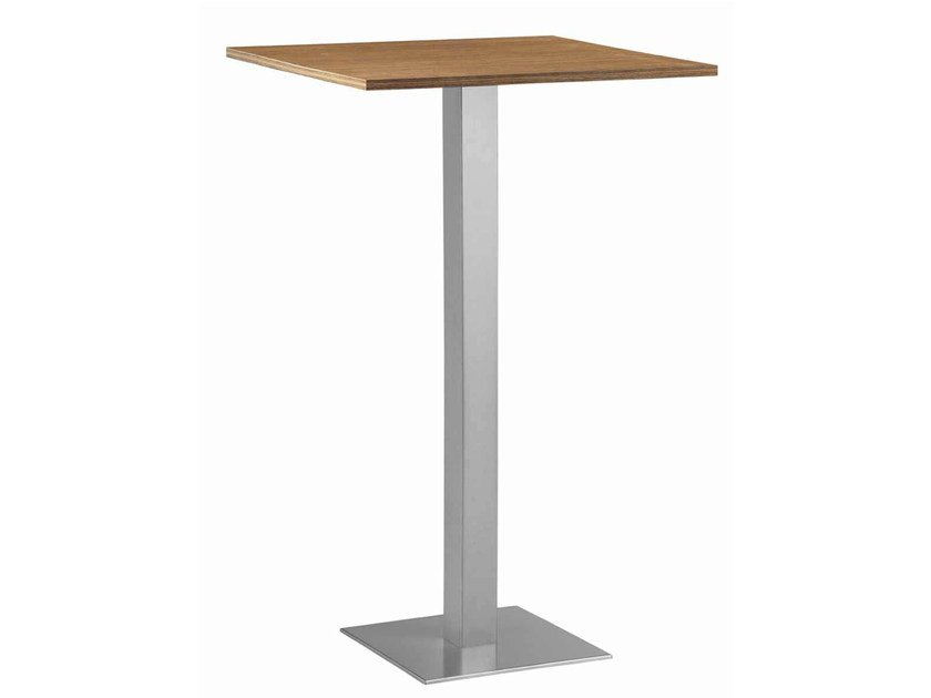 Square steel and wood high table XT 479AQ by Metalmobil