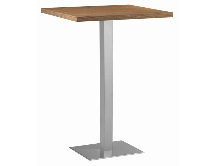Square steel and wood high table XT 480AQ by Metalmobil