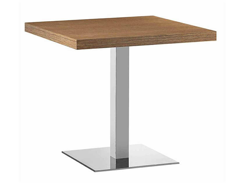 Square steel and wood table XT 480Q by Metalmobil
