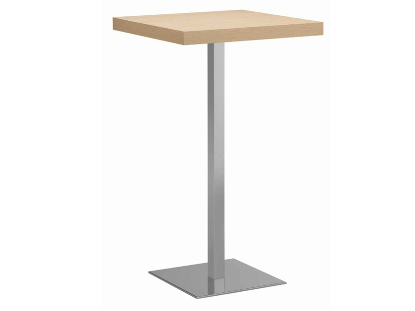 Square steel and wood high table XT 495AQ by Metalmobil