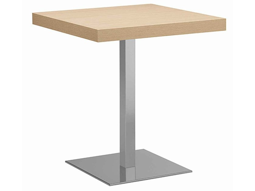 Square steel and wood table XT 495Q by Metalmobil