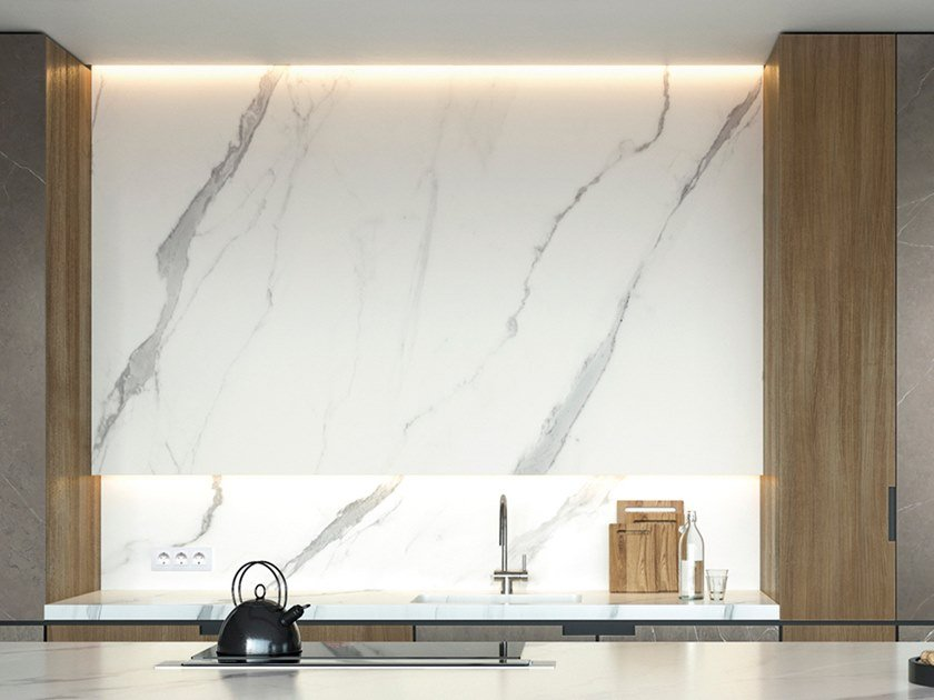 Porcelain stoneware wall tiles / kitchen worktop XTONE - ARIA WHITE by URBATEK