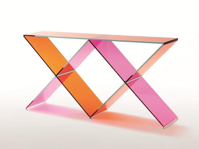 Rectangular crystal console table XX by Glas Italia